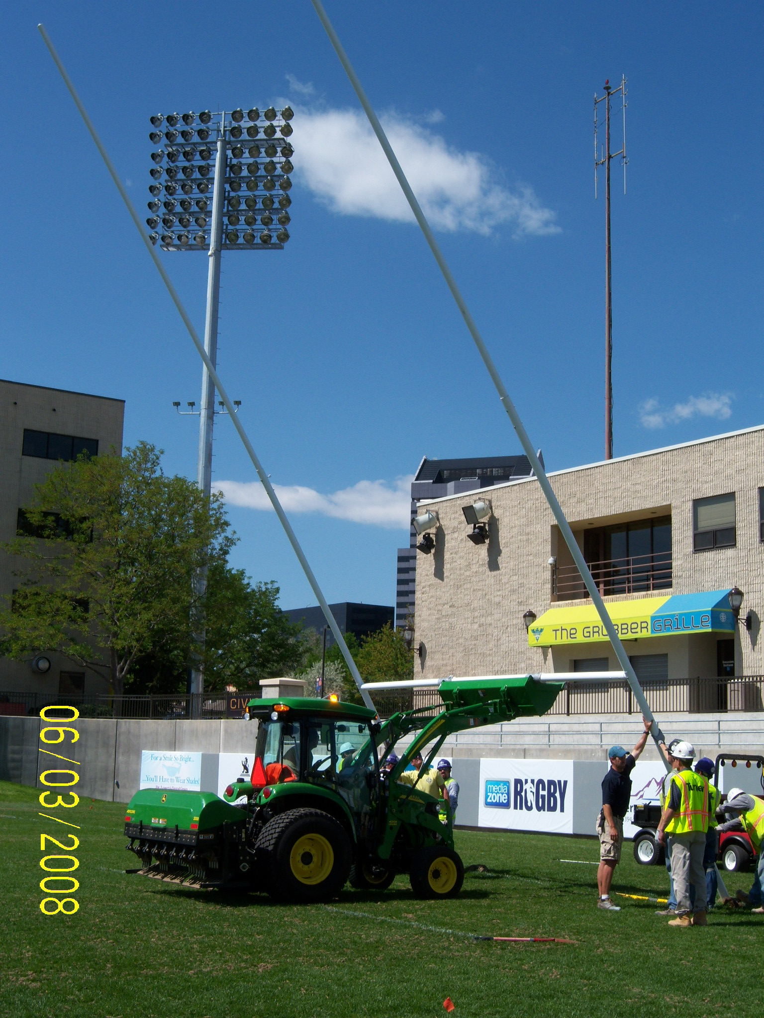 Public Works Lowering Rugby Goal Posts