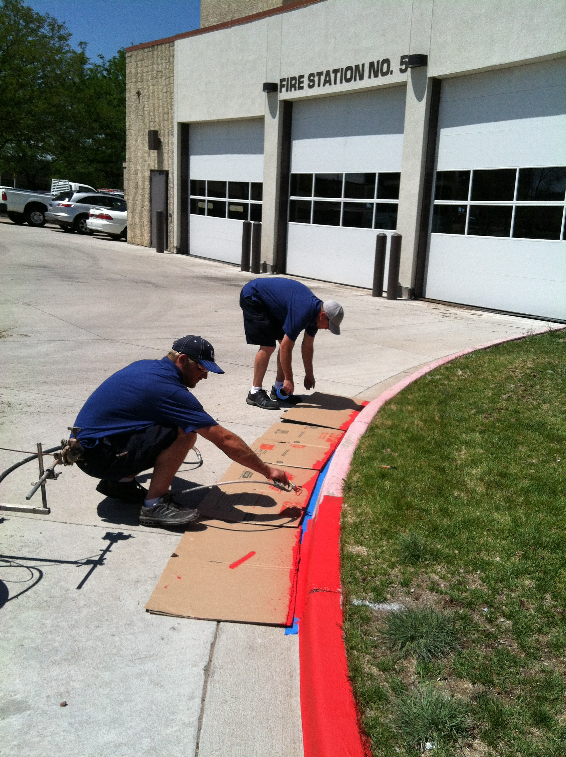 Public Works Painting Curb at Fire Station #5